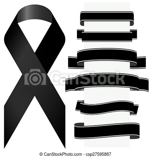 black mourning ribbon and banners - csp27595887