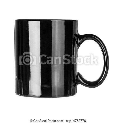 Black mug empty blank for coffee or tea isolated on white background  - csp14762776