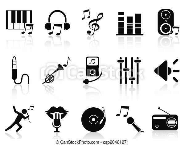 black music audio icons set - csp20461271