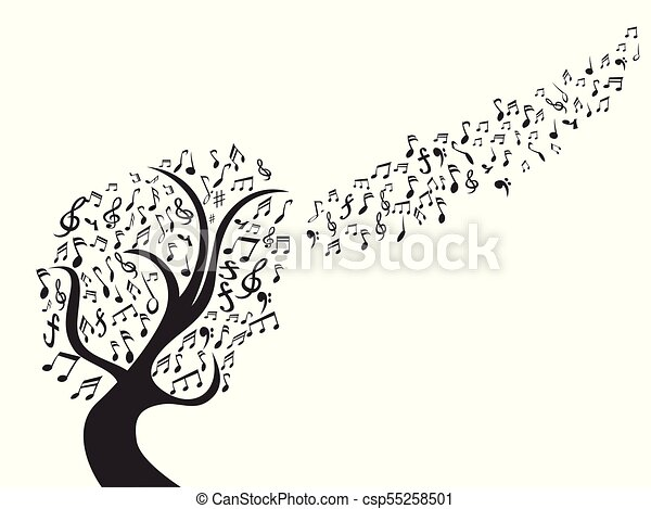 black music note tree - csp55258501