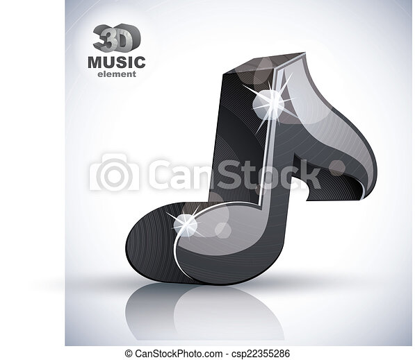 Black musical note 3d modern icon isolated. - csp22355286