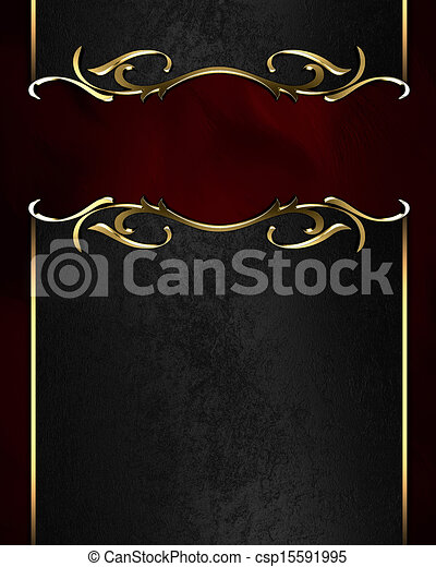 Black name plate with gold ornate edges, on red background - csp15591995