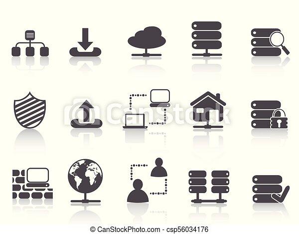 black network server hosting icons set - csp56034176