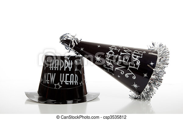 Black new year's eve hat on white - csp3535812