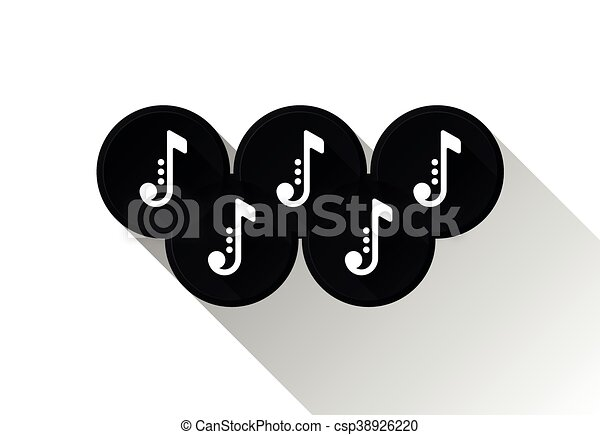 Black Note Icons In Olimpic Rings Music Symbols Vector