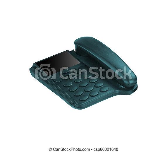Black Office Phone isolated on white background - csp60021648