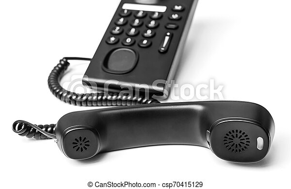 Black Office Phone isolated on white background - csp70415129