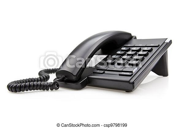 Black Office Phone isolated on white background - csp9798199