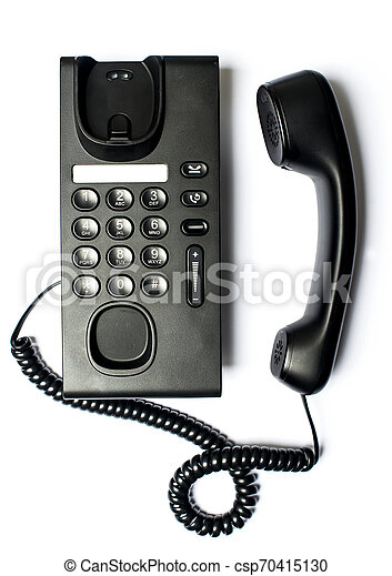 Black Office Phone isolated on white background - csp70415130