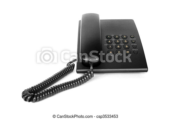 Black office phone isolated - csp3533453