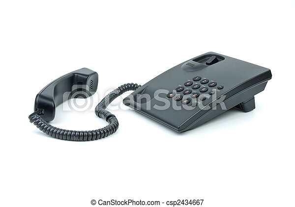 Black office phone with handset near - csp2434667
