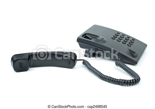 Black office phone with handset near - csp2498545