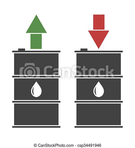 black oil barrel with red and green arrows on white background - csp34491946
