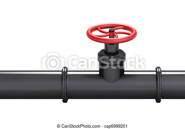 Black oil pipe with red valve - csp6999201