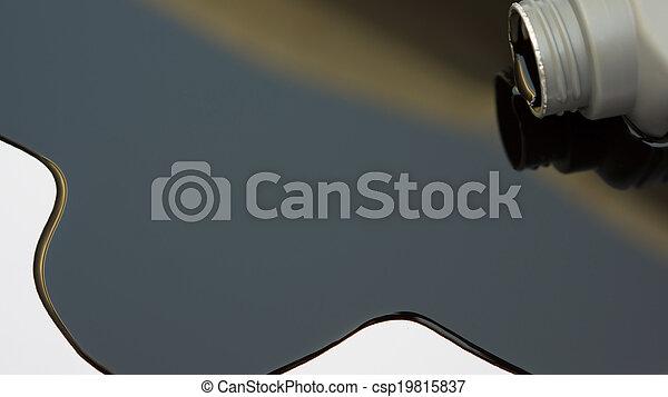 Black Oil Spilled On White - csp19815837
