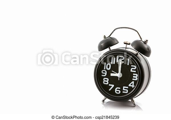 Black old fashion alarm clock. - csp21845239