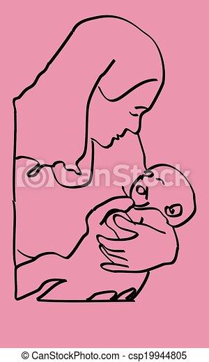 Black on Pink Mother Infant Sketch - csp19944805
