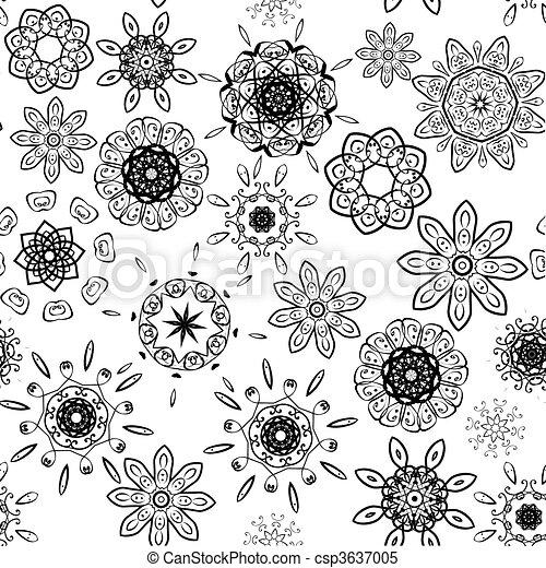 Black on white seamless floral pattern - csp3637005