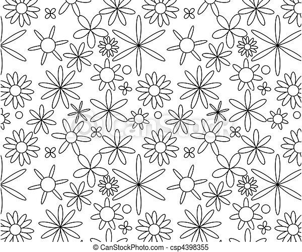 Black on white seamless floral pattern - csp4398355