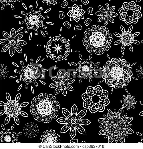 Black on white seamless floral pattern - csp3637018