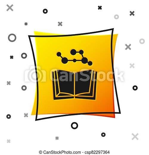 Black Open book icon isolated on white background. Yellow square button. Vector Illustration - csp82297364