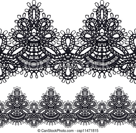 black openwork lace seamless border realistic vector illustration rh canstockphoto com lace vector free download lace vector clip art free