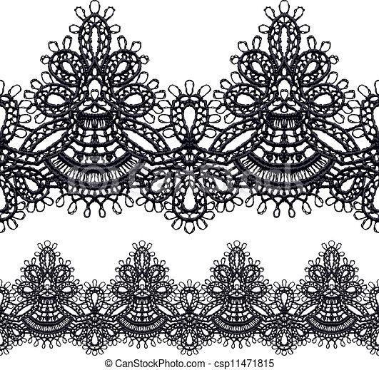 Black openwork lace seamless border. - csp11471815