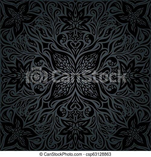 Black Ornate Flowers Floral Decorative Vintage Background