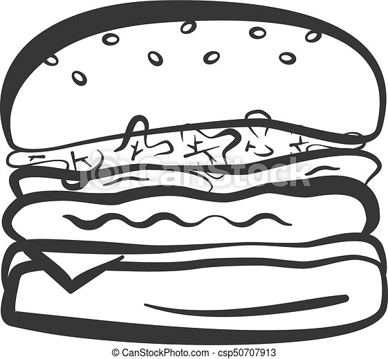 Black Outline Isolated Hamburger Icon Black Isolated Vector Outline