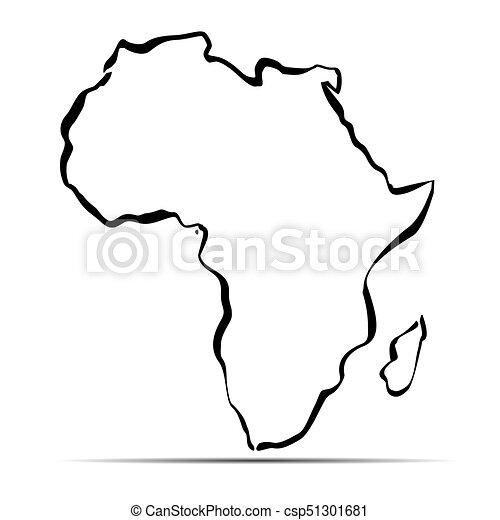 Black Outline Map Of Africa. Vector Illustration