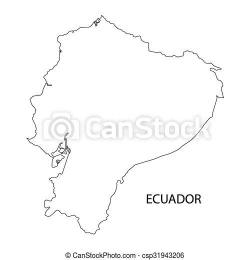 black outline of Ecuador map - csp31943206