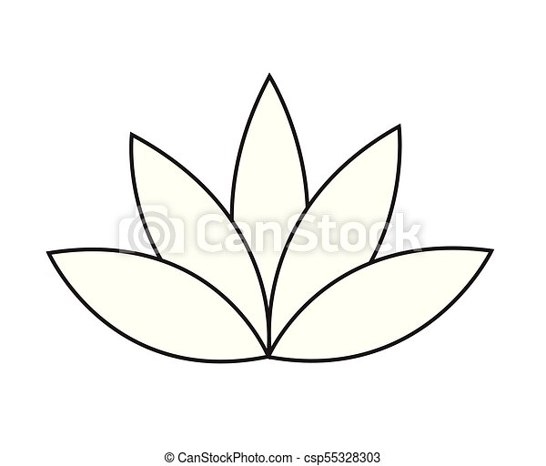 Black Outline Simple Lotus Or Water Lily Flower Vector Icon