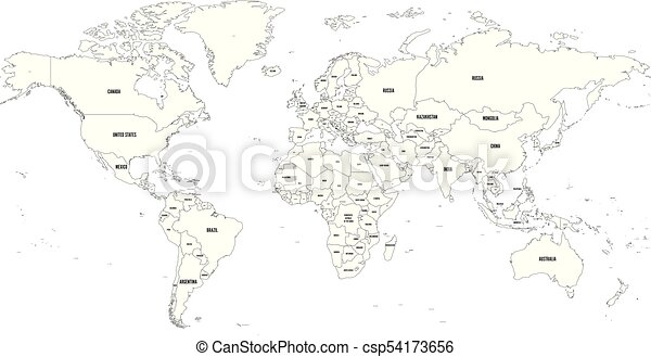 Map Of The World Simple.Black Outline Vector Map Of World