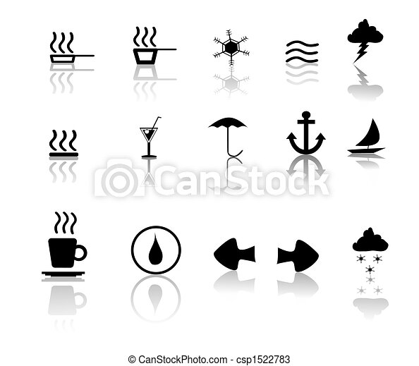 Black over White Miscillaneous Icons - csp1522783