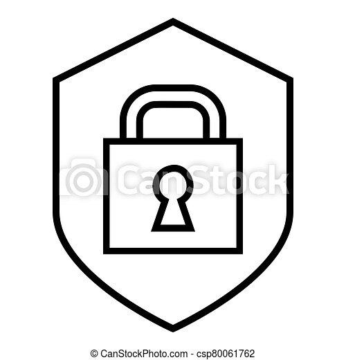 Black Padlock icon. Lock flat line design sign - csp80061762