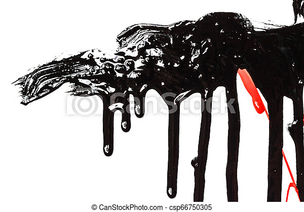 Black paint on a white background - csp66750305