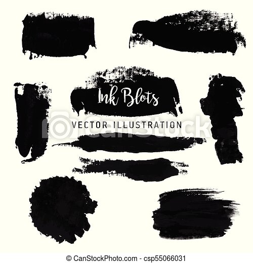 Black paint strokes. Abstract hand drawn blots of ink. Vector illustration. - csp55066031