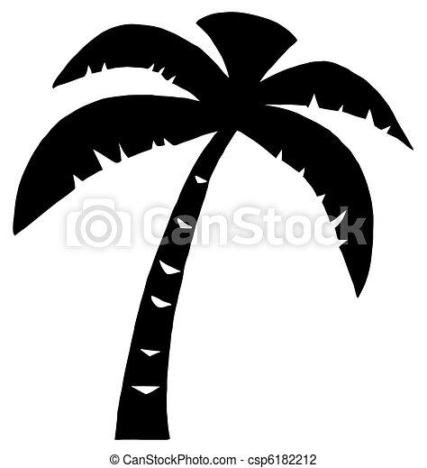 Black Palm Three Silhouette  - csp6182212