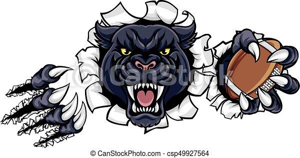 Black Panther American Football Mascot - csp49927564