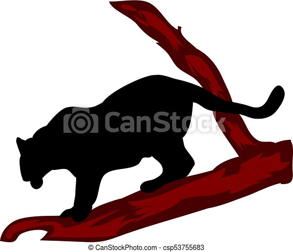 black panther descends on a tree silhouette on a white vector rh canstockphoto com Black Panther Logo Black Panther Marvel Logo