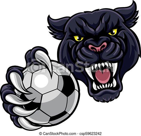 Black Panther Holding Soccer Ball Football Mascot - csp59623242
