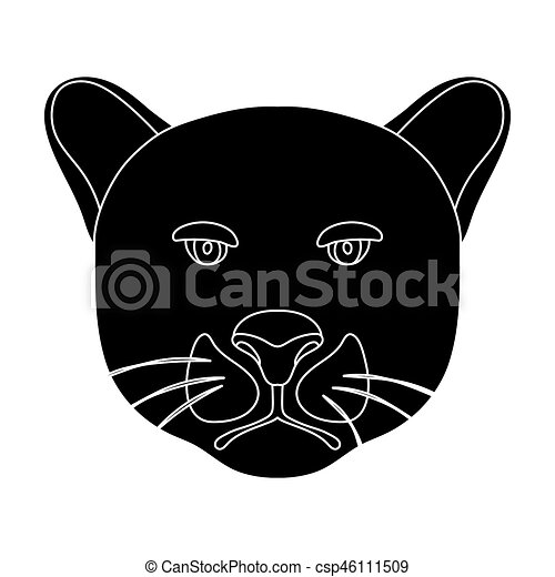 Black Panther Icon In Black Style Isolated On White Background
