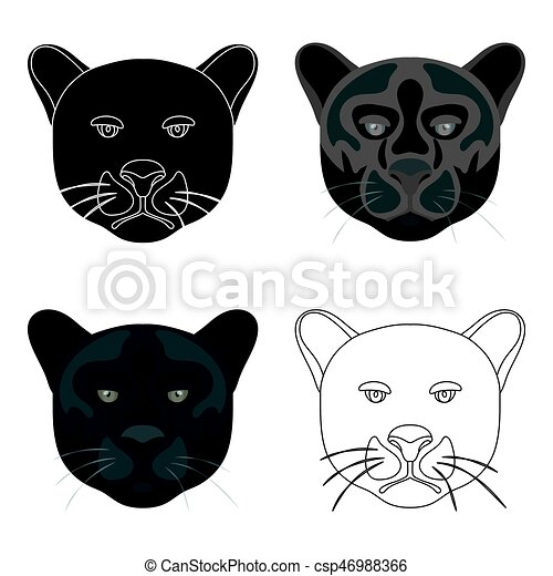 Black Panther Icon In Cartoon Style Isolated On White Background