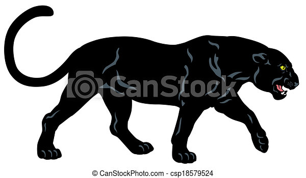 black panther side view image isolated on white background rh canstockphoto com clip art panther paw panther paw clipart