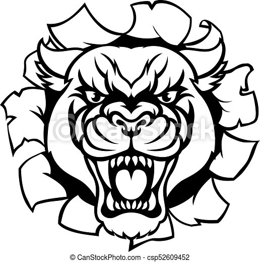 black panther mascot background breakthrough a black panther angry rh canstockphoto com  panther head clipart