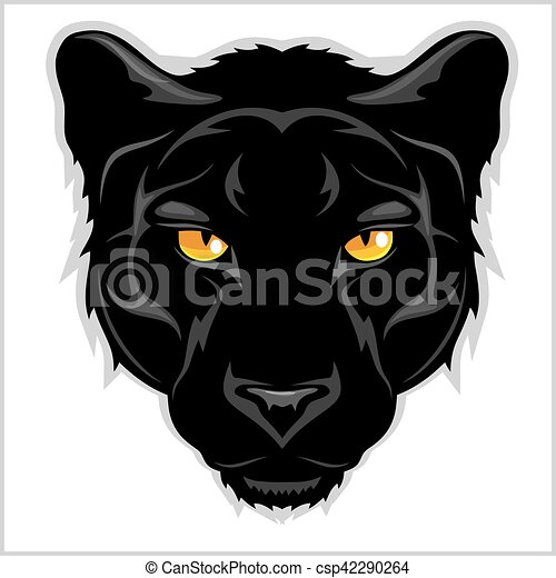 black panther on white background black panther head clip rh canstockphoto com Panther Face Clip Art panther head clipart
