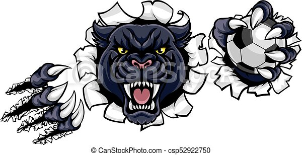 Black Panther Soccer Mascot Breaking Background - csp52922750