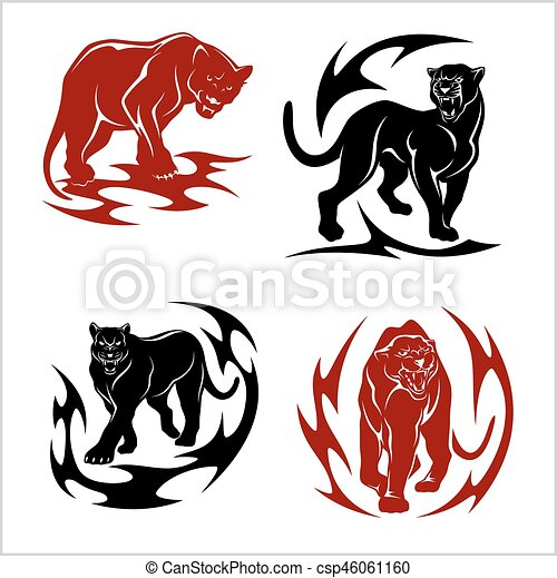 black panthers set stylized images for tattoos isolated clip rh canstockphoto com