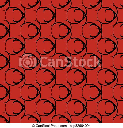 Black pattern on red seamless design. - csp82664094