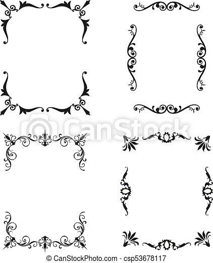 Black patterned frames set. vector illustration flat design vector ...